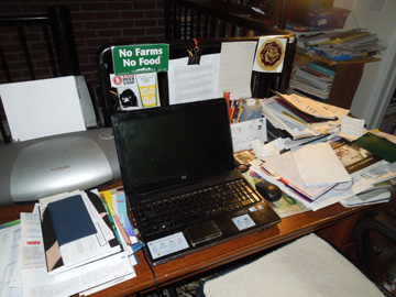 Yep. That's my desk as of 7 a.m. this morning. I've added a cup of coffee since.