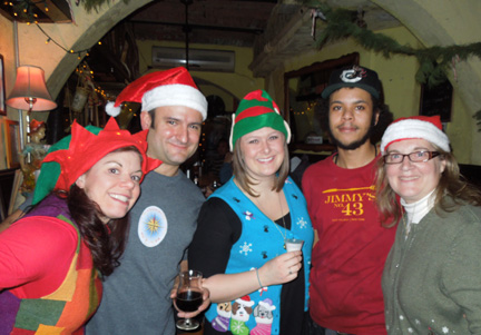 Among our many events of 2012 was the Wandering Star Brewing Company Christmas dinner, hosted by Mary Izett and Chris Cuzme, here with the holiday staff of Jimmy's No. 43. (Yes, that is me on the far right!)