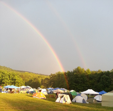 I never got to the end of Gravity's Rainbow, but I got to witness one late last summer. It's a double. And it ended at a brewery. My life is ironic, for sure.