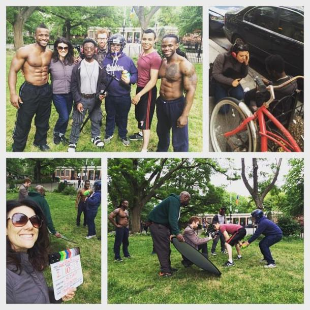 "Yesterday's film shoot. I'm not pictured because I'm guarding the equipment. But, yes, I will take fitness advice from the lovely ""bros"" (not derogatory, that's the name of their part in this comedy), thank you very much. And thank you to my female director for having them remove their shirts in this scene!"