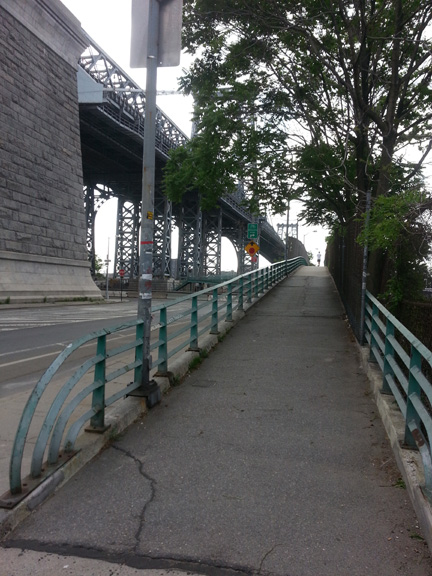 Super relieved to find a pedestrian route just under the Williamsburg Bridge that crosses over the highway to the park.
