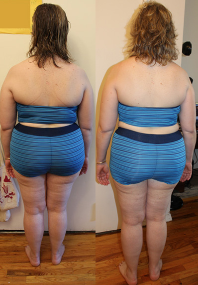 Not much of a change on my butt, but (butt but! ha!) I definitely look more tone. And come on! The back on the right is almost ready for a backless dress! Almost!